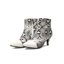 Fall / Winter 2020 short boots ladies plus size fashion ankle snake pattern Chelsea women bare