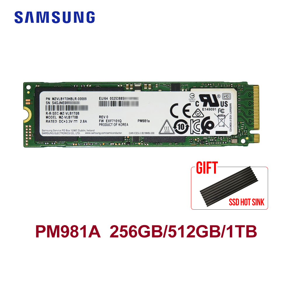SAMSUNG PM981A M.2 SSD 512GB 1TB Internal Solid State Drives  M2 NVMe PCIe 3.0x4  Laptop Desktop SSD With HeatSink
