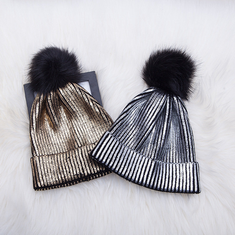 Winter Warm Knitted Beaines Metallic Shiny Hats For Women With Pompon Soft Casual Beanies Hat For Ladies Fashionable Wool Caps