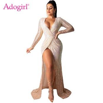 Adogirl moda Sexy lentejuelas Maxi vestido de fiesta de noche envoltura cuello en V manga larga alta Slit Robe Vestidos largos de banquete Vestidos de Club