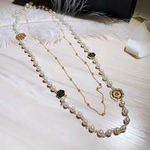 Luxury Camellia Pearl Long Woman Necklace Sweater Chain collane lunghe donna Rose Flower layered Party Necklace