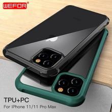 Para el nuevo iPhone 11 De Apple 2019, para el iPhone 11 Pro Max carcasa a prueba de golpes 360 grados claro proteger suave TPU + duro PC cubierta de plástico