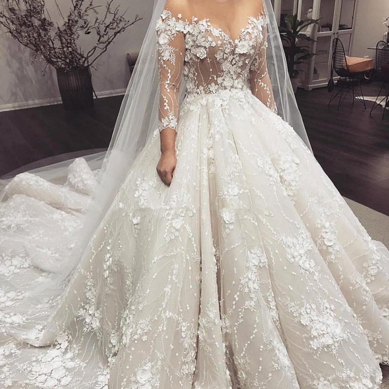 3D Flower Arabic Wedding Dresses Off Shoulder Lace Illusion Long Sleeves Bride Dress Custom Made Abito Da Sposa