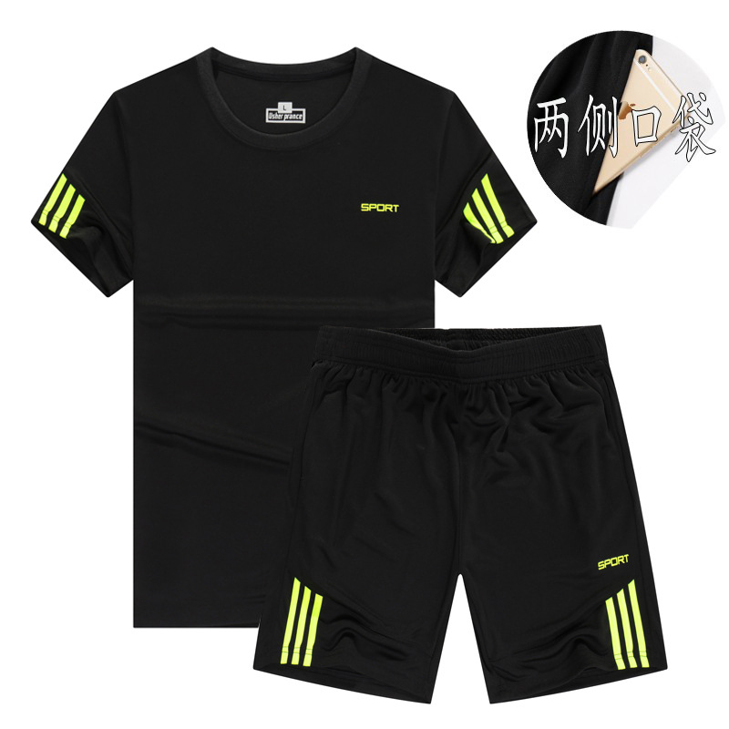 Short Sleeve MEN'S T-shirt Trend Korean-style Summer Leisure Suit 2018 New Style Sports Running Fitness Outdoor Casual