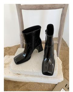 Image 4 - Patent Leather Women Ankle Boots Square Toe Woman Shoes Trendy Chaussures Femmes Side Zipper Short Booties Runway Star Shoe Lady