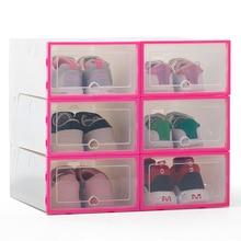6pcスタッカブルシンプルなスタイルのクリアプラスチック靴箱自宅保管ボックスオフィス主催引き出し