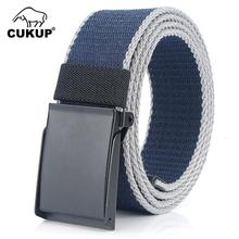 CUKUP 2019 Unisex New Design Canvas Belt Black Zinc Alloy Buckle Metal Leisure Belts Jeans for Men Women 3.8cm Wide CBCK139