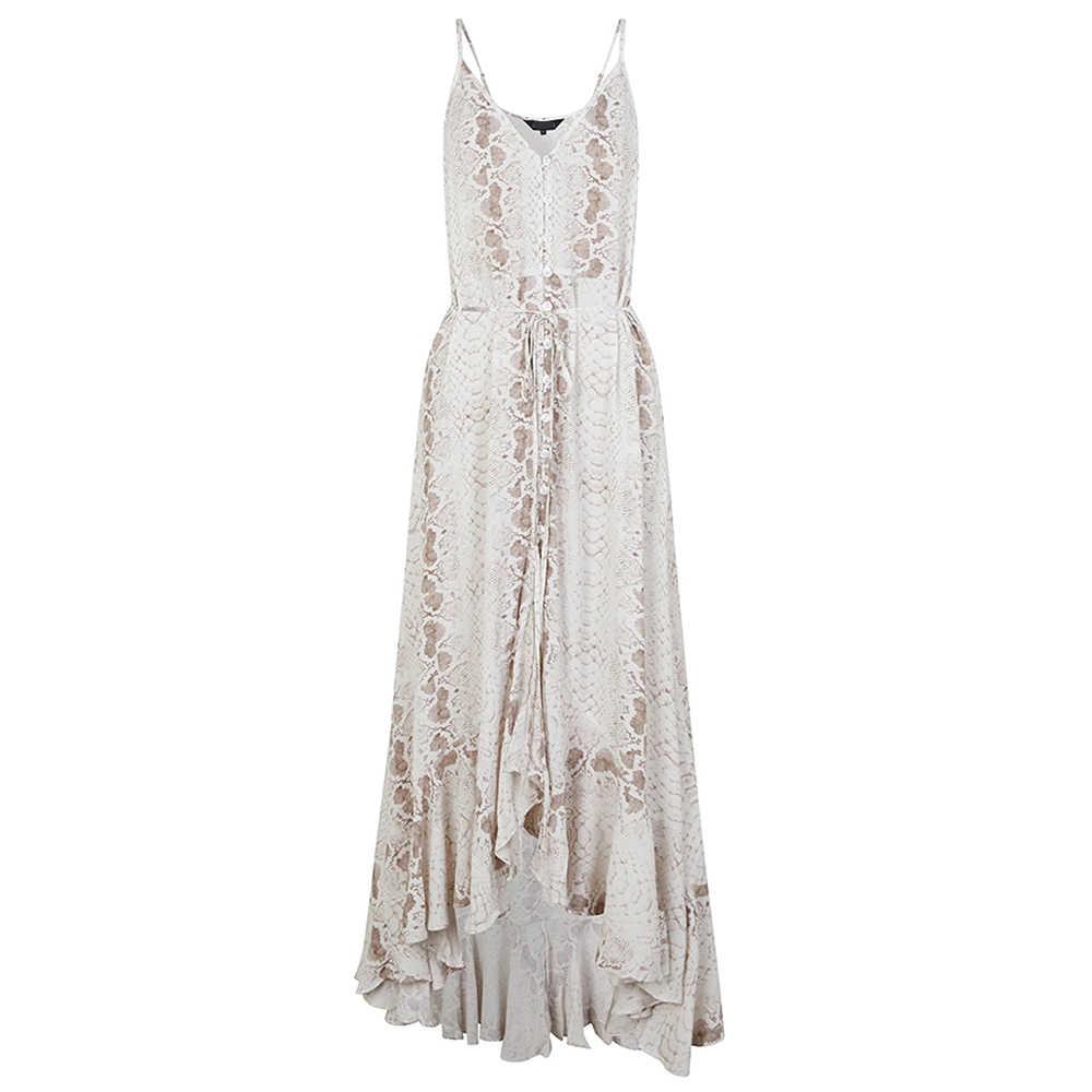 فساتين فستان صيفي نسائي فستان طويل غير رسمي 2020 فساتين الشيفون فضفاضة سيدة شاطئ الكشكشة فستان الخامس الرقبة بوهو فستان مثير فستان ماكسي للحفلات