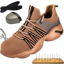 Holfredterse bezpieczeństwo czarne brązowe buty mężczyźni Casual odporne na przebicie praca trampki stalowe Toe buty praca niezniszczalne buty 1688-810 tanie tanio Pracy i bezpieczeństwa CN (pochodzenie) Mesh (air mesh) ANKLE Stałe Dla dorosłych Syntetyczny Okrągły nosek RUBBER