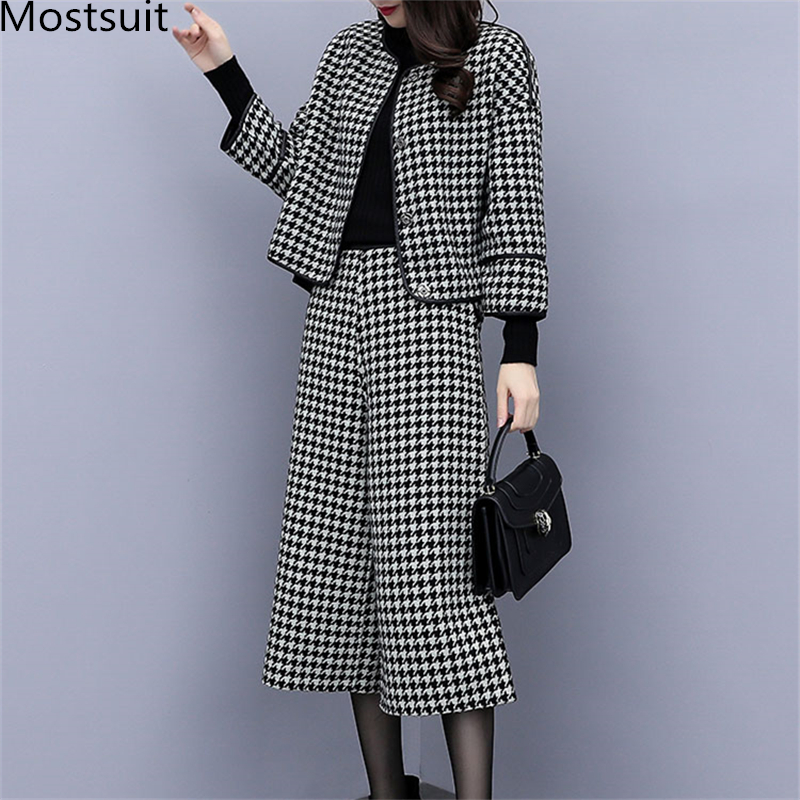 2019 Autumn Winter Houndstooth Two Piece Sets Outfits Women 
