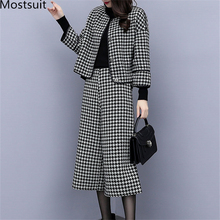 2019 Autumn Winter Houndstooth Two Piece Sets Outfits Women Woolen Coat And Cropped Wide Leg Pants Suits Office Elegant Sets
