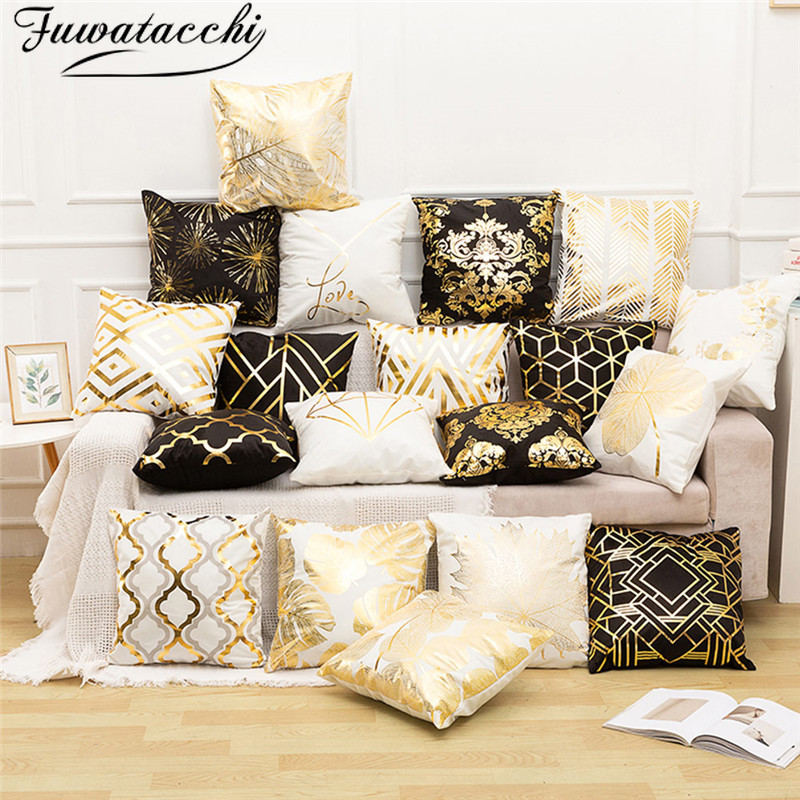 Fuwatacchi Black Gold Foil Linen Cushion Cover Leaf Geometrical Diamond Pillow Cover For Chair Sofa Decorative Pillows 45*45cm