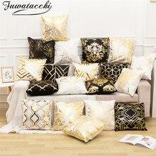 Fuwatacchi, funda de cojín de lino de papel de aluminio negro dorado, funda de almohada de diamantes con flores y hojas para silla de hogar, cojines de sofá decorativos de 45x45 cm