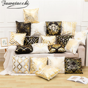 Image 1 - Fuwatacchi Polyester Gold Letter Pillow Case Black Cover Sofa Car Waist Cushion Throw Pillow Sofa Decorative Pillows 45*45cm
