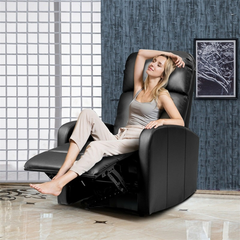 PU Leather Padded Seat Massage Recliner Chair Black Morden PU leather Living Room Sofas HW61145 image