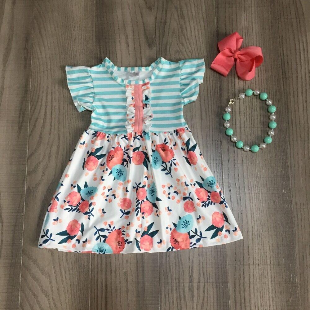 Baby Girls Summer Cotton Floral Dress Children Stripe Dress Baby Kids Classic Garden Dress With Accessories