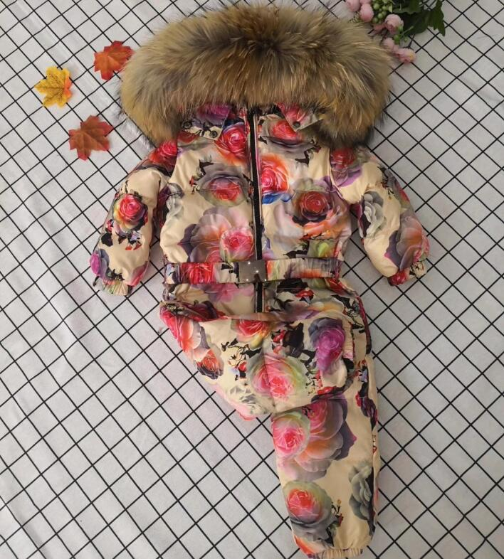 Real fur 2019 Winter Jacket child jackets children jumpsuit Rose Flower snow suit girl down romper ski suits outerwear