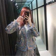 2019 Autumn Coat New Blue Little Fragrant Wind Short Woven Tweed V-Neck Open Stitch Print Coats and Jackets Women