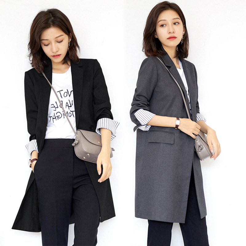 High Quality Women's Suit Long Section 2019 New Solid Color Double-breasted Slim Office Large Size Gray Blazer Women's Clothing