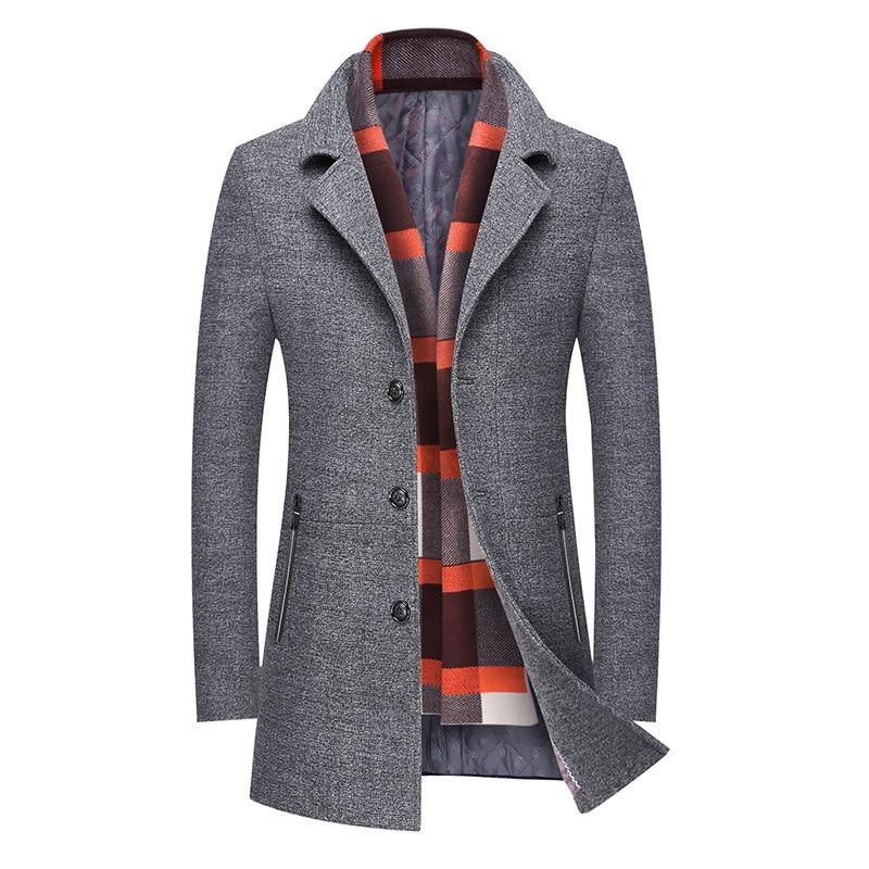 Coat Men Solid Winter Wool Jacket Men Casual Long Overcoat Men Gray Brown Jacket Men M-4XL Men's Coats Streetwear Men's Jacket