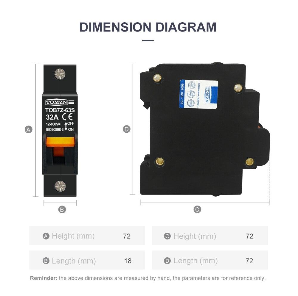 H2249dc6c2ccf4a06ae99f4243456f9d9u - hydrautic magnetic type DC MCB circuit breaker 12V to 100V 32A 40A TOMZN TOB7Z-63S