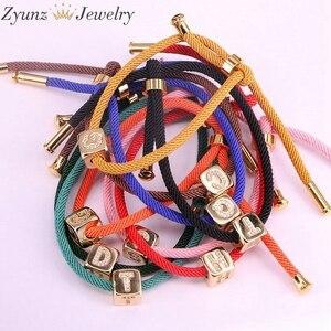 Image 4 - 10PCS, 26 English alphabet A Z Lucky Rope Cord CZ Metal Letters String Bracelets