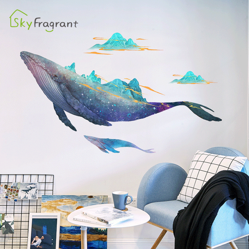 Creative personality wall sticker big whale stickers bedroom living room sofa background wall decor room decoration for home