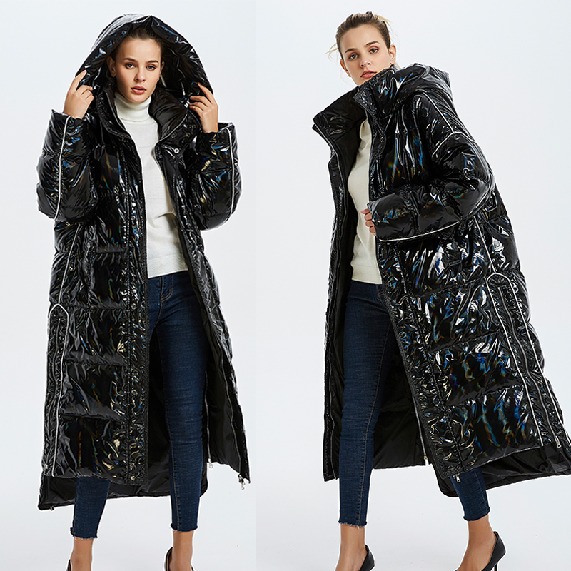 Glossy patent fabric   down     coats   Winter Luxurious quality glossy   down     coat   female hooded collar oversize thicker warm   down     coats