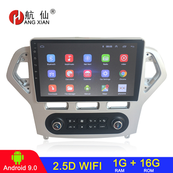 HANG XIAN 10.1 Quadcore Android 8.1 Car radio for Ford Mondeo 2007 Auto Air-condition car dvd player GPS navi car multimedia image