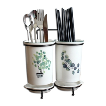 Wall-Mounted Ceramic Chopsticks Tube Creative Draining Household Chopsticks Bucket Chopsticks Box Storage Rack Chopsticks Cage фото