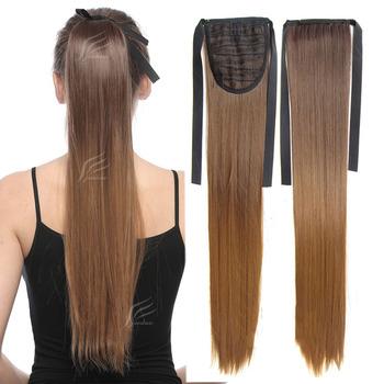 Jeedou proste włosy Rainbow kolor ombre 22 cali 55cm 90g wstążka włosy w koński ogon rozszerzenia syntetyczny czarny różowy naturalne kucyki tanie i dobre opinie 100 g sztuka Wysokiej Temperatury Włókna Clip-in 1 sztuka tylko