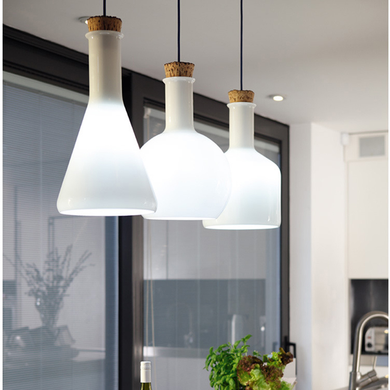 Modern White Magic Milk Bottle Pendant Light Glass Dining Room Living Room Suspended Luminaire E27 110-240v Luminaire Suspendu