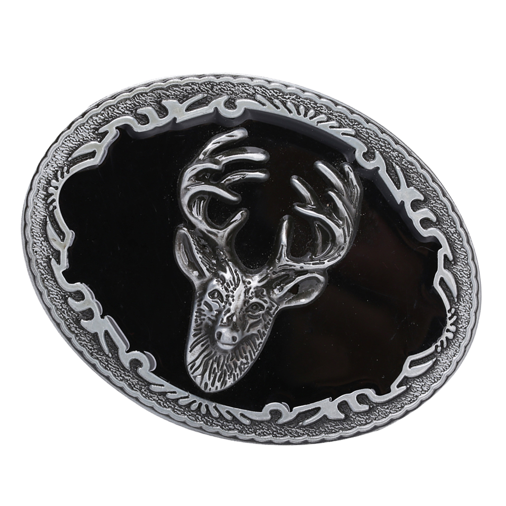 Men's Classic Antique Rodeo Deer Head Western Cowboy Oval Metal Belt Buckle Xmas Jeans Accessory