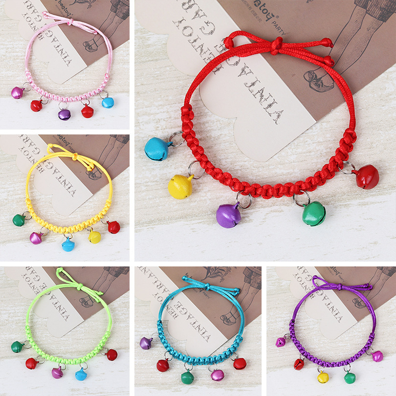 Weaving Bell Pet Dog Bell Neck Ring Cat Neck Ring Collar Small Dogs Teddy Collar Necklace Collar