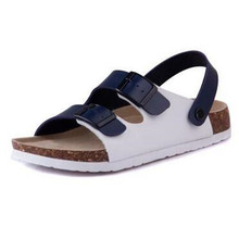 New Men Summer Beach Slides Fashion Double Buckle Cork Sandals Flat with Patchwork Casual Slippers Shoe Plus Size 35-45 black цена