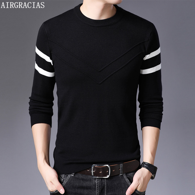 AIRGRACIAS 2019 Autumn Casual Sweater Men O-Neck Striped Slim Fit Knittwear Men Sweaters Pullovers Men Pull Homme M-4XL