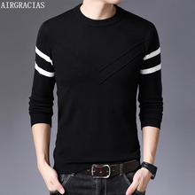 AIRGRACIAS 2019 Autumn Casual Sweater Men O-Neck Striped Slim Fit Knittwear Sweaters Pullovers Pull Homme M-4XL