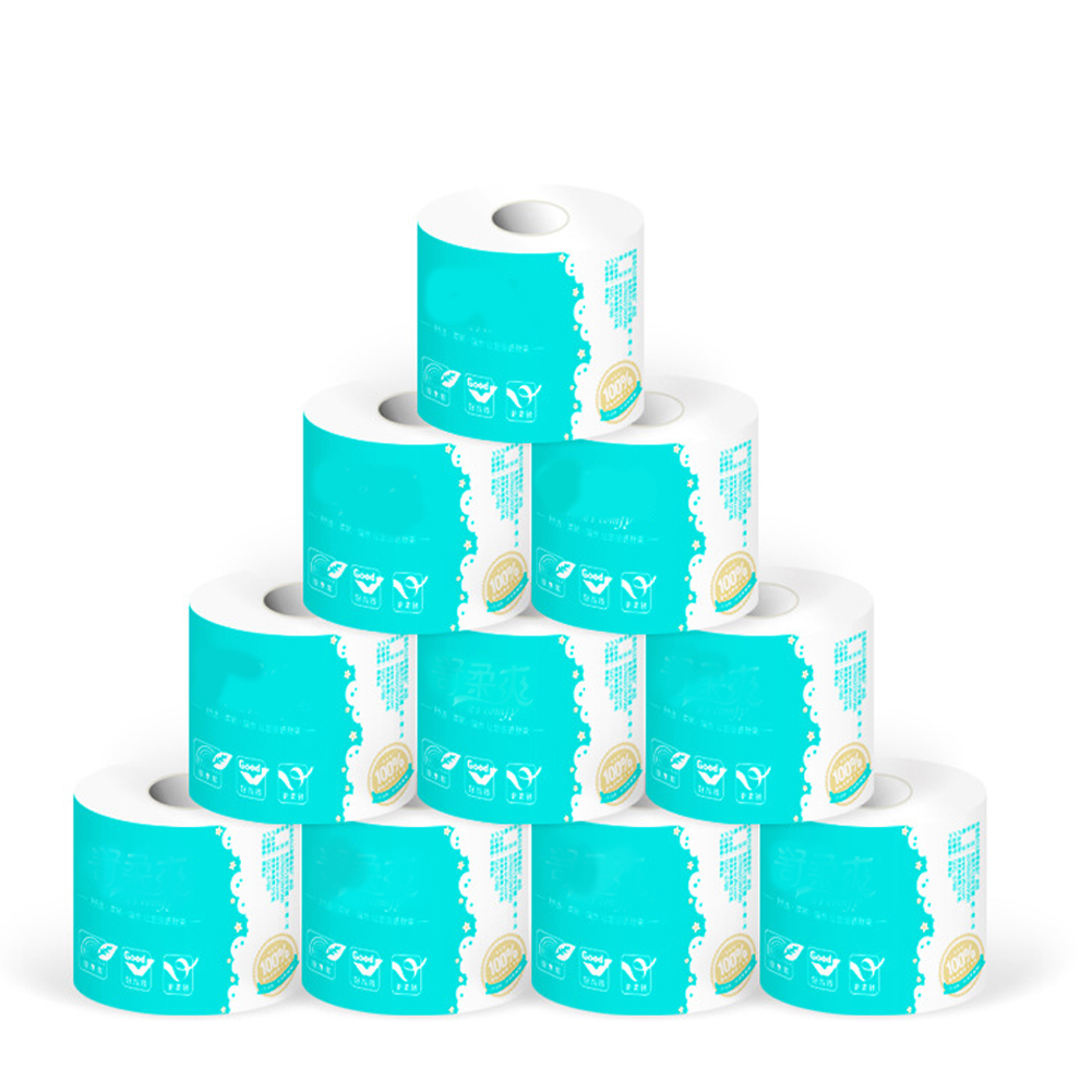 10 Rolls 4-layer For Home Hotel Toliet White Toilet Paper Pattern Core Roll Paper Bathroom Tissue Towel Accessories