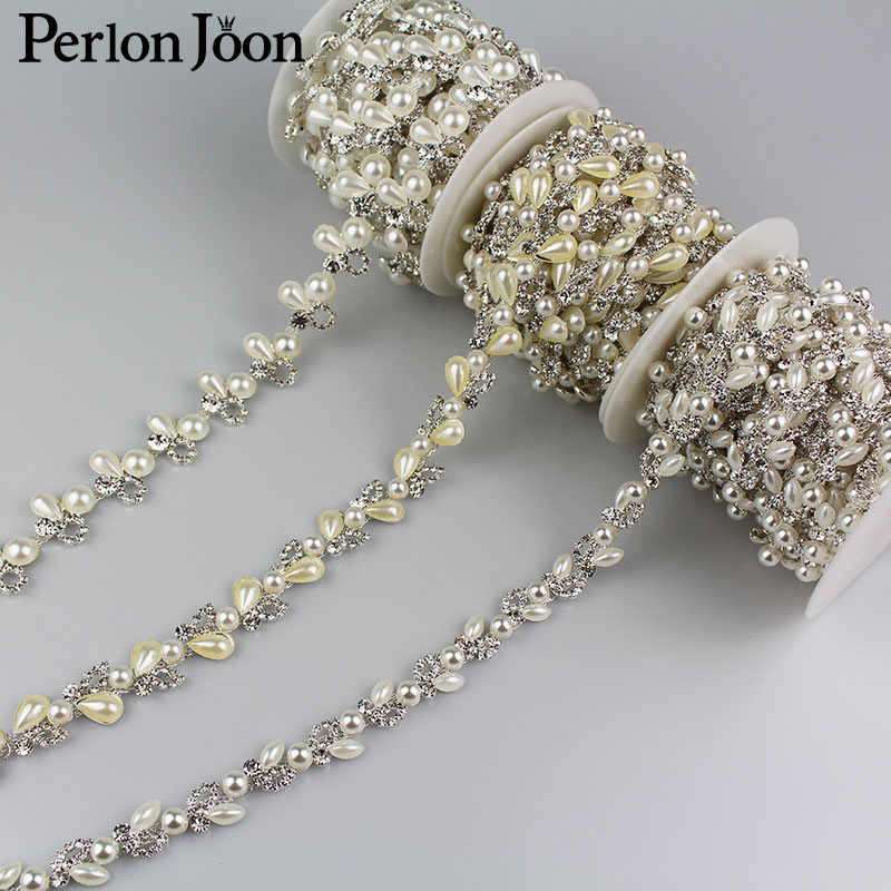 5yard/lot Three styles pearl crystal chain rhinestones trim Ribbon metal chain for clothing bag shoes accessories ML008-1.2.3