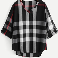Oversize Plaid Vintage Shirt vrouwen Lange Mouwen V-hals Losse Shirts Elegante Mode Kantoor Blouse Tuniek Tops Plus Size 4XL(China)