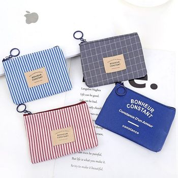 1pcs Unisex Canvas Purse Card Key Mini Purse Pouch Canvas Bag Small Zipper Coin Purse Card Holder Wallet Four Colors Available image