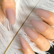 24 pieces / set full of matte fake nail tip art naked skin color press false extension fall off
