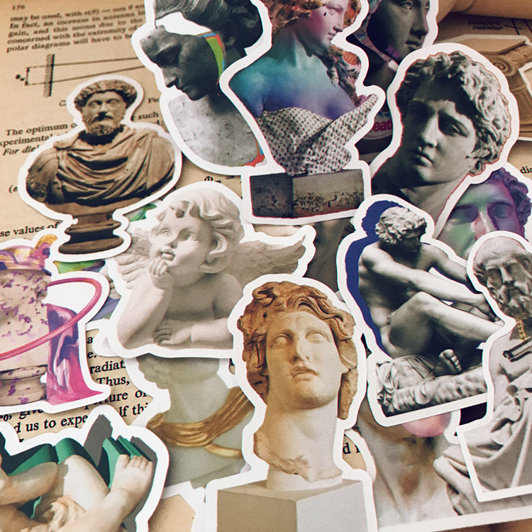 17Pcs/Pack Vintage VAPORWAPVE Stone Sculpture Girl Sticker DIY Craft Scrapbooking Album Junk Journal Planner Decorative Stickers