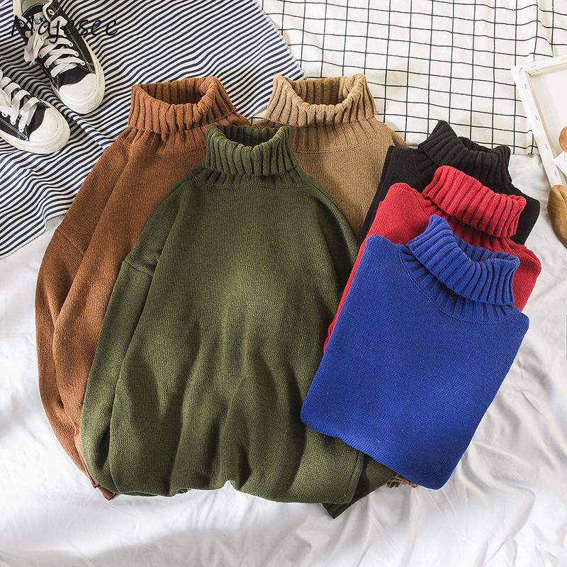 Sweaters Men Turtleneck Solid Soft Warm All-match Daily Thicker Knitting Korean Style Clothing Mens Simple Ulzzang Sweater Chic