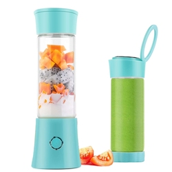 Portable Blender,USB Rechargeable Mini Juicer Cup with Handle, Smoothie Blender with 6 Blades with 4000MAh Batteries, 480Ml Hous