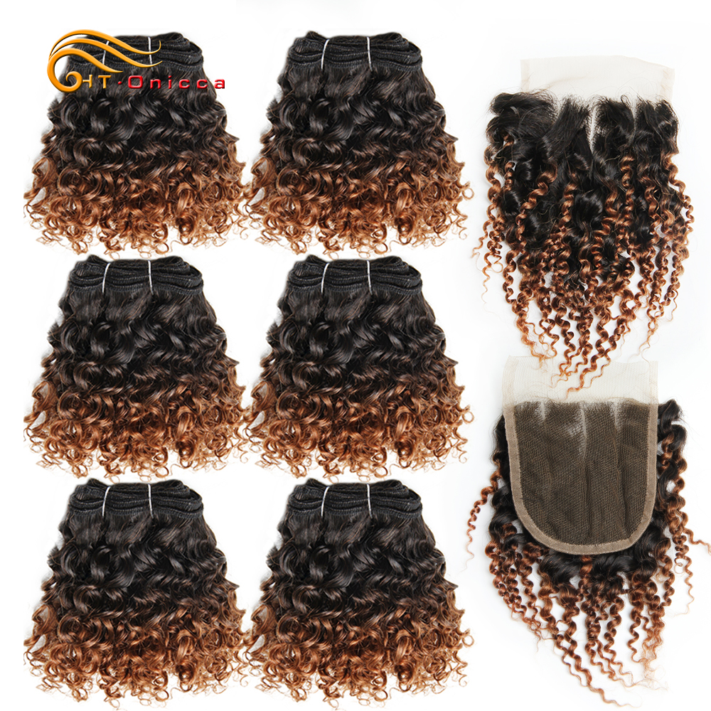 Bouncy Curly 6Bundles With Closure Funmi Brazilian Hair Weave Bundles With Closure Remy Human Hair Bundles With Closure