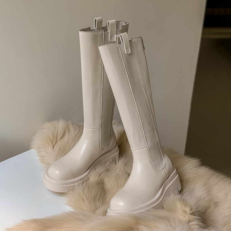 Knee High Boots Women Shoes Natural Genuine Leather Platform Riding Boots Zipper Ladies Long Boots Autumn Beige Black 40