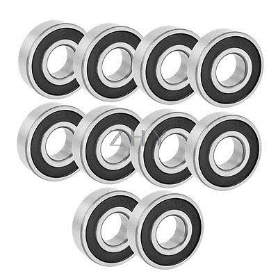 Rubber Deep Groove Radial Ball Bearing 6204-2RS 20mmx47mmx14mm 10PCS