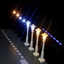 City Road Street traffic light Streets Lamp Accessories Building Blocks Mini Model Car Crossing signa Compatible All Brands