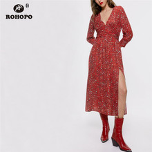 ROHOPO Leopard Printed Dress Long Sleeve Side Slit Peplum Draped Waist Red Midi Dresses High Mid Calf Vestido #9268